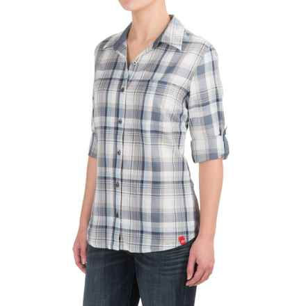 Dickies Plaid Roll-Up Shirt - Elbow Sleeve (For Women) in Plaid Smoke/Clear Blue - 2nds