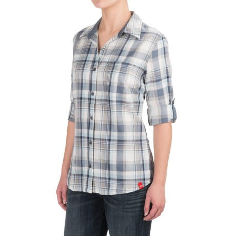 Dickies Plaid Roll-Up Shirt - Elbow Sleeve (For Women) in Plaid Smoke/Clear Blue
