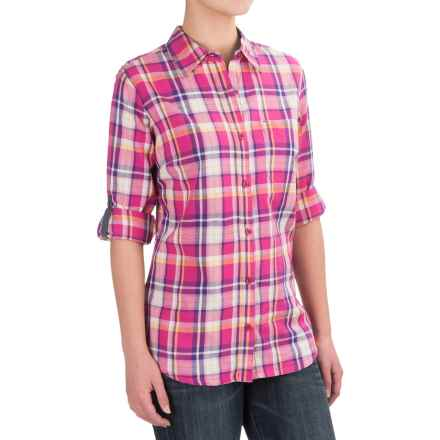 Dickies Plaid Roll-Up Shirt - Elbow Sleeve (For Women) in Plaid Velvet Punch/Petunia - 2nds