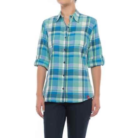 Dickies Plaid Roll-Up Shirt - Elbow Sleeve (For Women) in Princess Blue/Aqua Jade Plaid - 2nds