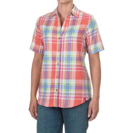 Dickies Plaid Shirt - Split Neck, Short Sleeve (For Women) in Plaid Coral Reef/French Blue - Closeouts