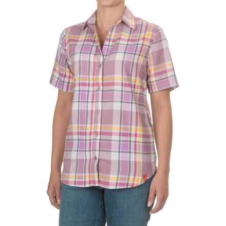Dickies Plaid Shirt - Split Neck, Short Sleeve (For Women) in Plaid Dusky Orchid/Misty June - Closeouts