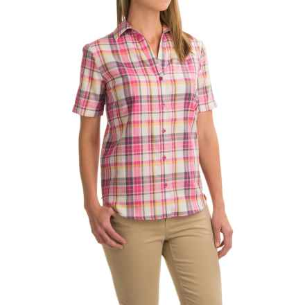 Dickies Plaid Shirt - Split Neck, Short Sleeve (For Women) in Plaid Opaque White/Velvet Punch - Closeouts