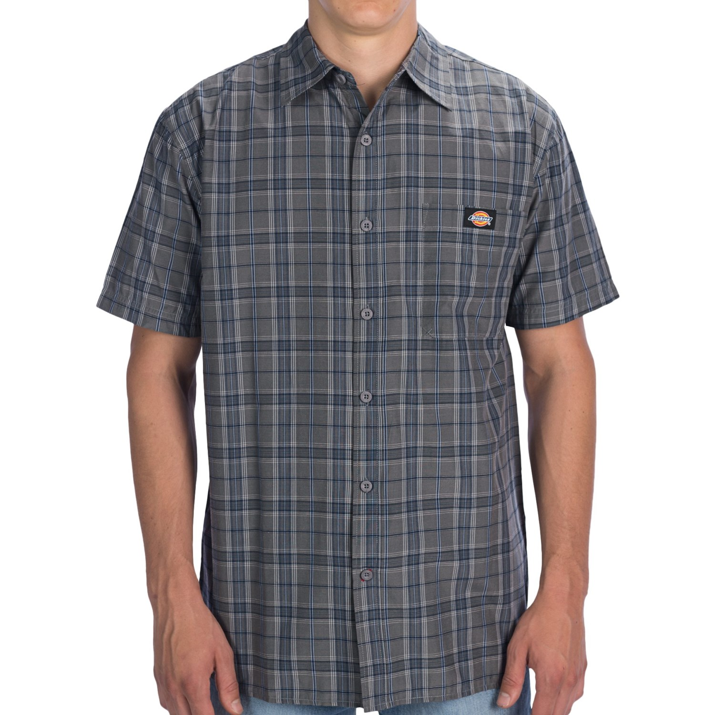 Dickies plaid square bottom shirt short sleeve for big for Dickies short sleeve plaid shirt