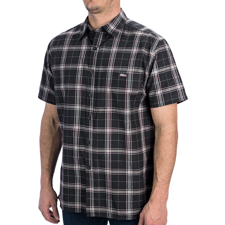 Dickies plaid square bottom shirt short sleeve for men for Dickies short sleeve plaid shirt