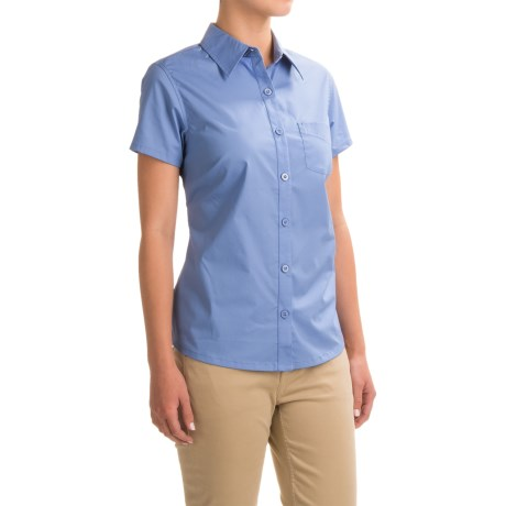 Dickies Solid Poplin Shirt - Short Sleeve (For Women) in French Blue