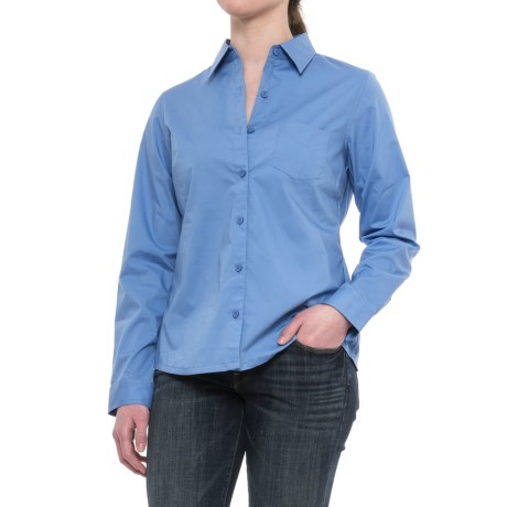 Dickies Stretch Poplin Work Shirt - Long Sleeve (For Women) in French Blue