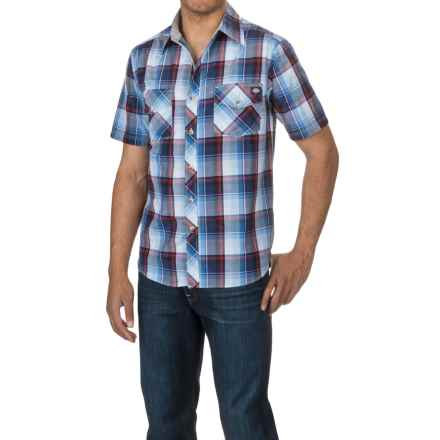 Dickies Two-Pocket Plaid Shirt - Short Sleeve (For Men) in Sky Blue/Navy - Closeouts