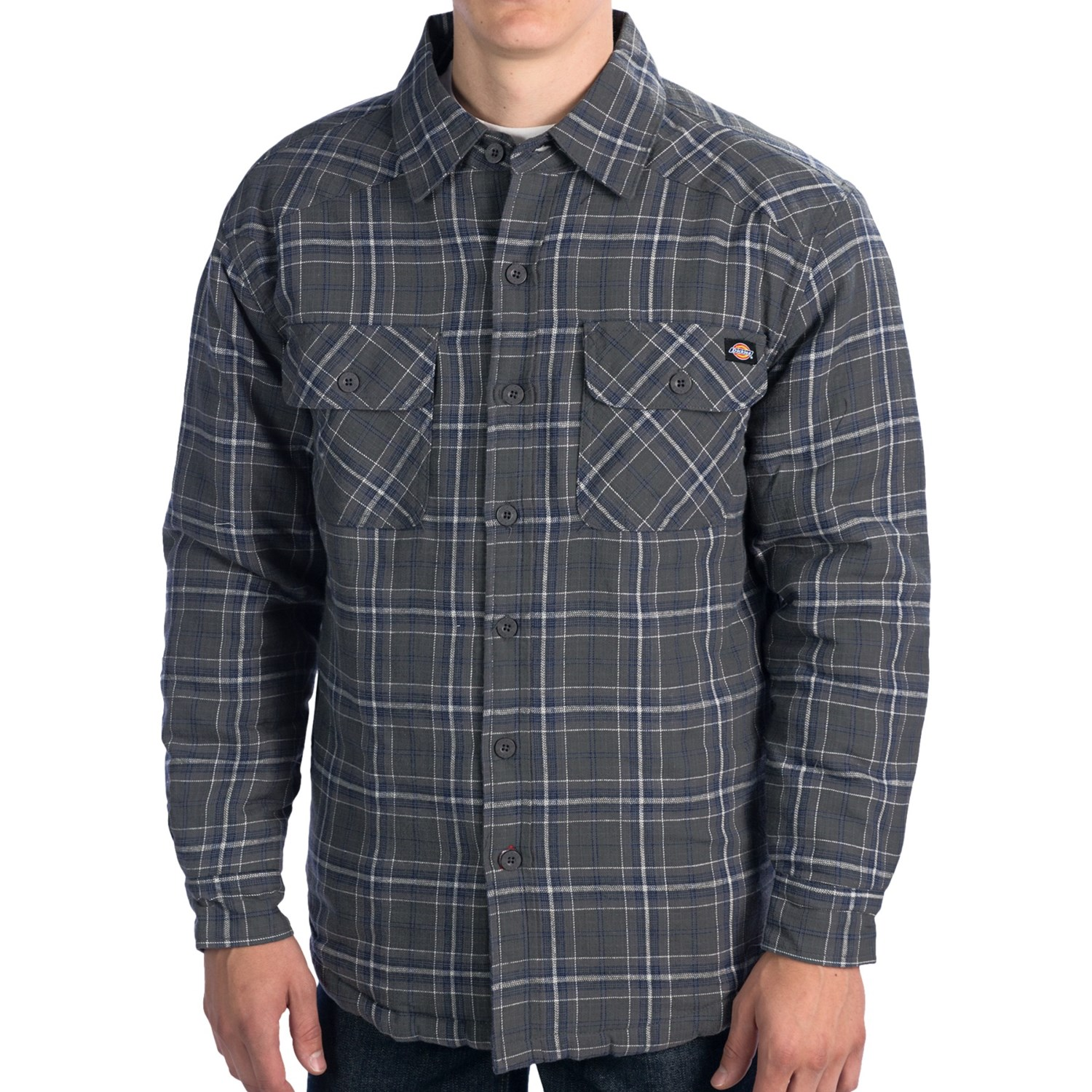 Dickies western flannel shirt insulated quilted lining for Men flannel shirt jacket with quilted lining