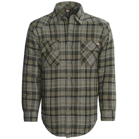 Men 39 s quilted lined flannel shirt dickies western for Mens insulated flannel shirts