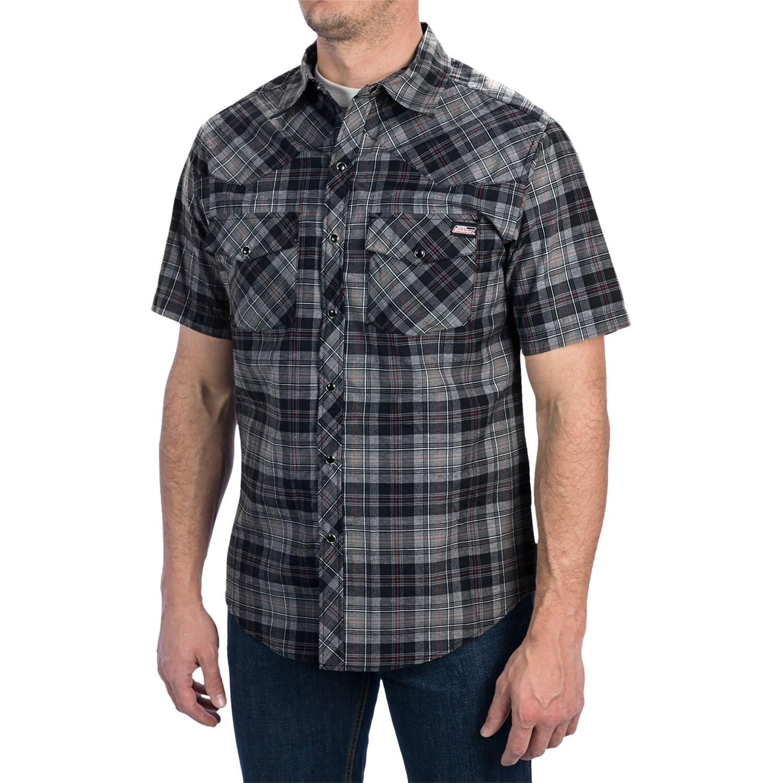 Dickies western plaid shirt short sleeve snap front for Dickies short sleeve plaid shirt