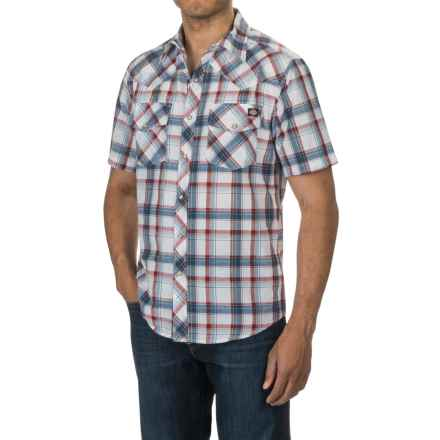 Dickies Western Plaid Shirt - Short Sleeve, Snap Front (For Men) in White/Red - Closeouts