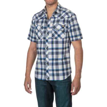 Dickies Western Plaid Shirt - Short Sleeve, Snap Front (For Men) in White/Royal - Closeouts