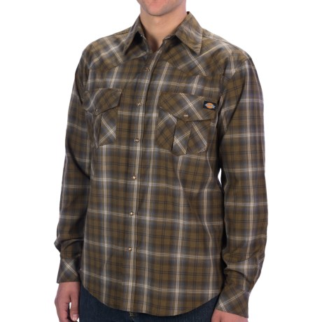 Dickies Western Plaid Shirt - Snap Front, Long Sleeve (For Young Men) in Lincoln Green