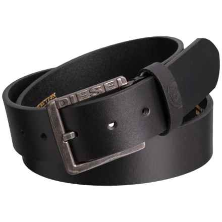 Diesel Mino1 Buffalo Leather Belt (For Men) in Black - Closeouts