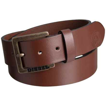Diesel Mino6 Buffalo Leather Belt (For Men) in Vintage/Walnut - Closeouts