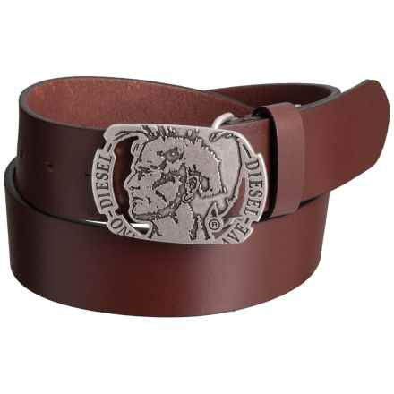 Diesel Mino8 Buffalo Leather Belt (For Men) in Vintage/Walnut - Closeouts