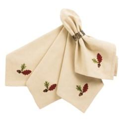 DII Autumn Cloth Napkins - Set of 4 in Acorn Embellished