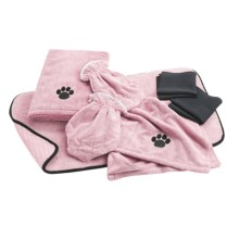 DII Bone Dry Microfiber Pet Towel and Mitt Set - 7-Piece in Pink - 2nds
