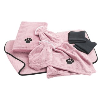 DII Bone Dry Microfiber Pet Towel and Mitt Set - 7-Piece in Pink