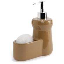 DII Ceramic Liquid Soap Dispenser and Dish Scrubber Set in Sand - Closeouts