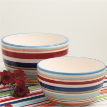 DII Ceramic Mixing Bowls - Set of 2 in Carnival Stripes - Closeouts