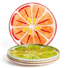 "DII Citrus Slices Plates - 6"", Glass, Set of 4 in Citrus - Closeouts"