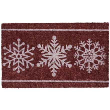 "DII Coir Holiday Doormat - 18x30"" in Classic Snowflakes - Closeouts"