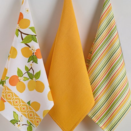 DII Cotton Dish Towels - Set of 3 in Citrus Blossom