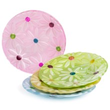 "DII Daisies 6"" Round Glass Plates - Set of 4 in Daisies - Closeouts"