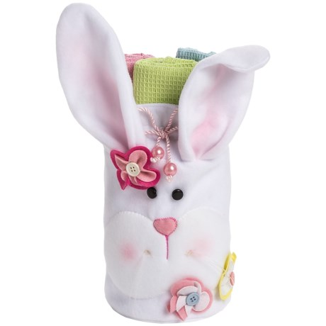 DII Easter Bunny Felt Bag with Kitchen Linens Gift Set in Bunny