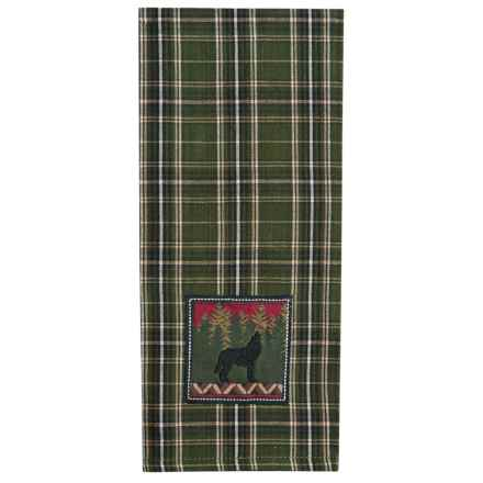 DII Embroidered Cotton Dish Towel in Wolf - Closeouts