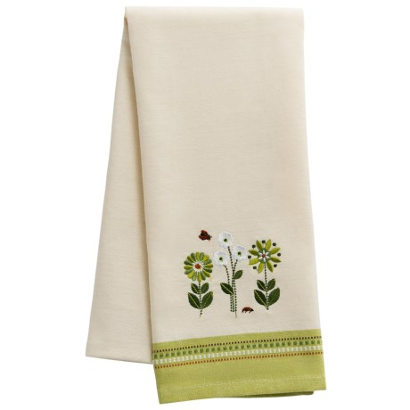 DII Embroidered Garden Dish Towel in Green Flowers