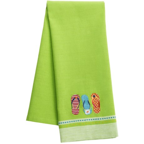 DII Embroidered Summer Fun Dish Towel in Flip Flops