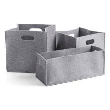 DII Felt Storage Bins - Set of 3 in Light Grey - Closeouts