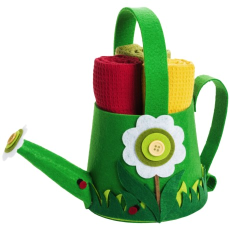 DII Felt Watering Can with Kitchen Linens Gift Set in Green