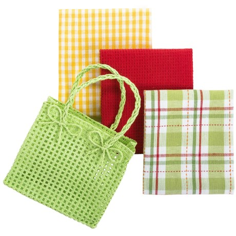 DII Gift Kitchen Towel Gift Bag - 3-Piece in Bright Green