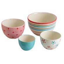 DII Hand-Painted Ceramic Prep Bowls - Set of 4 in Sweet Shop - Closeouts