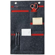 DII Hanging Felt Organizer in Grey/Red - Closeouts