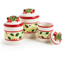 DII Holiday Holly Canisters - Ceramic, Set of 3 in Holly - Closeouts