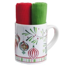 DII Holiday Mug and Dish Towel Gift Set - 3-Piece in Trim The Tree - Closeouts