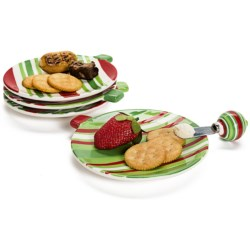 DII Holiday Ornaments Appetizer Plates - Set of 4, Ceramic in See Photo
