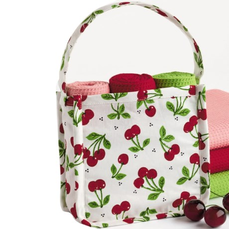 DII Kitchen Linens Gift Bag Set - Three Dish Towels in Cherry