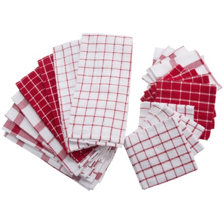 DII Kitchen Towel and Dishcloth Set - 20-Piece in Red