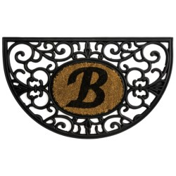 "DII Monogram Rubber & Coir Half-Moon Doormat - 30x18"" in B"