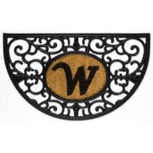 """DII Monogram Rubber & Coir Half-Moon Doormat - 30x18"""" in W - Overstock"""