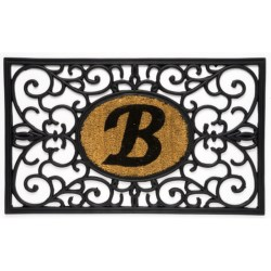 "DII Monogram Rubber & Coir Rectangular Doormat - 30x18"" in H"