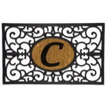 "DII Monogram Rubber & Coir Rectangular Doormat - 30x18"" in C - Overstock"