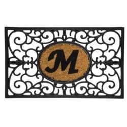 """DII Monogram Rubber & Coir Rectangular Doormat - 30x18"""" in Y"""