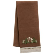 DII Pine Peak Lodge Embroidered Dish Towel in Mountain Forest - Closeouts